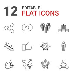 12 social icons vector image