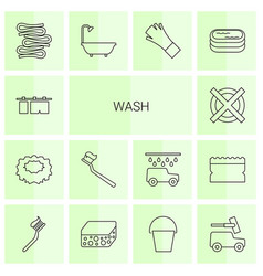 14 wash icons vector image