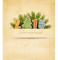 2015 with a Christmas tree on old paper background vector