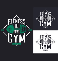 Barbell or rod dumbbell or weight for gym t-shirt vector