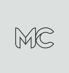 Black and white alphabet letter mc m c logo vector