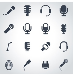 Black microphone icon set vector