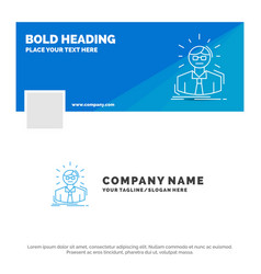 blue business logo template for manager employee vector image