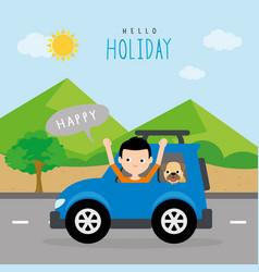 boy summer travel vacation holiday car vector image