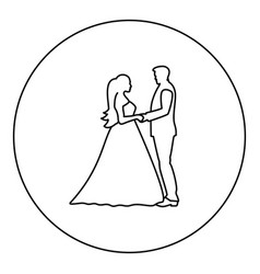 Bride and groom holding hands icon black color in vector