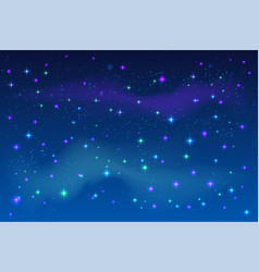 bright stars in blue night sky vector image