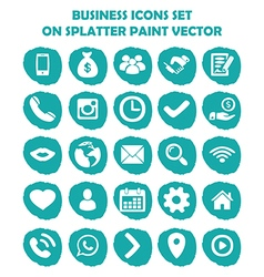 Business icon set on blue light splatter paint Fla vector