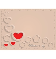 Card for Valentine Day on a Beige Background vector image