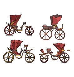 carriages xix century french chariot in line vector image