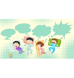Children sleeping in bed vector
