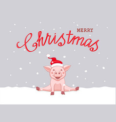 christmas card with sitting pink piggy on the snow vector image