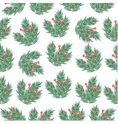 christmas seamless pattern with tree branches and vector image