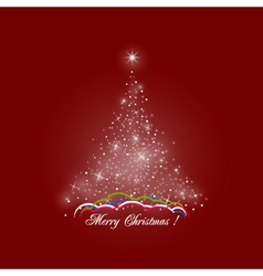 Christmas Tree of Lights on Red Background vector