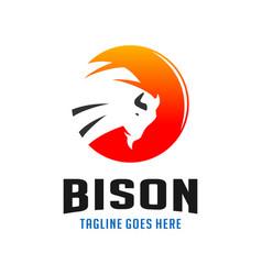 circle bison logo design template vector image