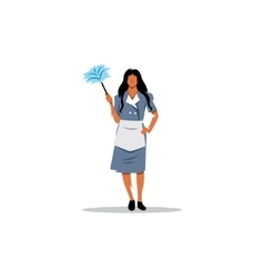 Cleaning service sign Girl with a brush for vector image
