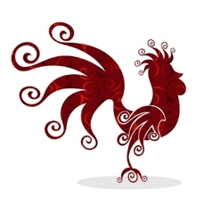 Cock red Vintage fabulous silhouette pattern bird vector image