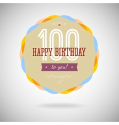 Congratulatory badge for the centenary vector image