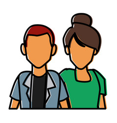 couple of friends cartoon vector image