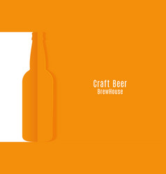 craft beer banner cut paper beer bottle vector image