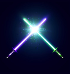 Crossed neon swords with trembling blades fight vector