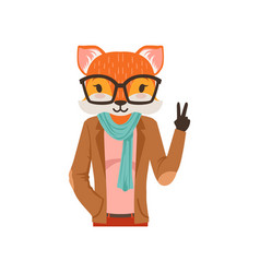 Cute fashion fox guy character showing victory vector