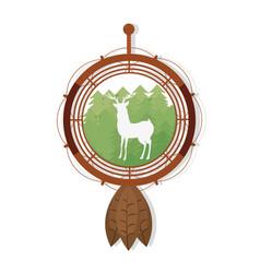 Deer silhouette on dream catcher symbol vector