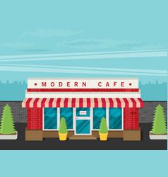 Facade of cafe flat vector