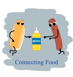 Fast food Poster hotdog and mayonnaise vector image