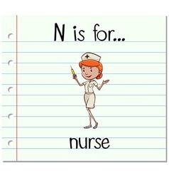 Flashcard letter N is for nurse vector