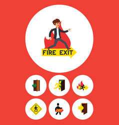 Flat icon door set of open door exit fire exit vector