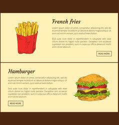French fries and hamburger vector