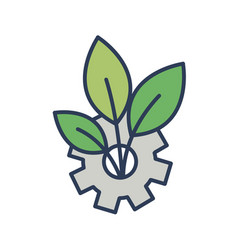 gear wheel and plant growing through it isolated vector image