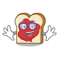 Geek bread with jam character cartoon vector