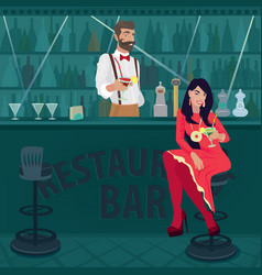 Girl and bartender offer different cocktails vector