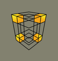 Grid cube sign vector