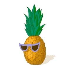 Hand drawn pineapple in sunglasses vector