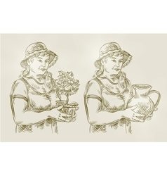Hand drawn sketch set farming gardening vector