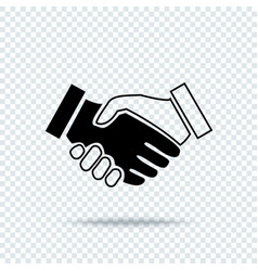 handshake icon with shadow on transparent vector image