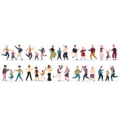 happy dancing families parents dancing with vector image