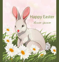 happy easter cute bunny rabbit card vector image