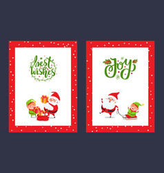 happy holidays greeting cards with santa and gift vector image