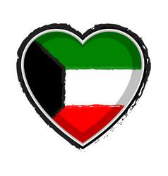 heart shaped flag of kuwait vector image