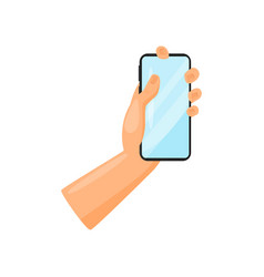human hand holding smartphone mobile phone with vector image