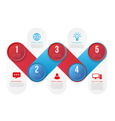 infographics with 5 steps or options blue and red vector image