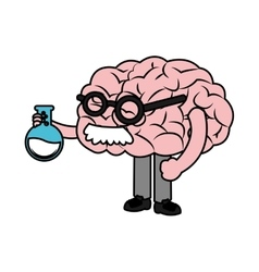 Isolated brain with flask design vector