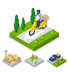 Isometric delivery with scooter and courier vector