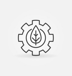 Leaf in gear outline icon vector