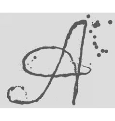 Letter A logo Splatter Black Ink Background vector