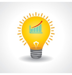 Light bulb with business graph vector