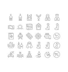 Line icons eid al-fitr vector